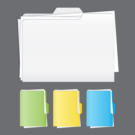 Colorful  tabbed folder vector set Vector