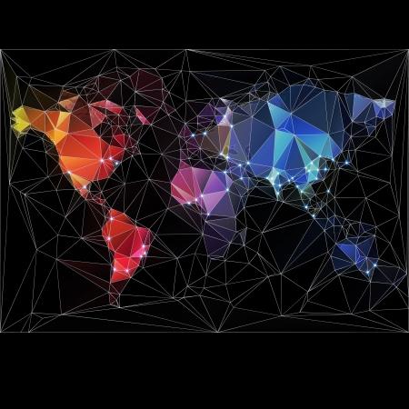 Night World Map met de grootste steden in de wereld