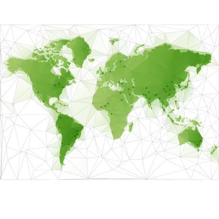 World Map Illustratie met grootste steden