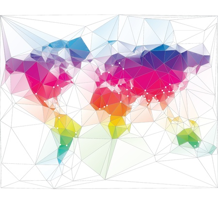 coloured: colored world map triangle design Illustration