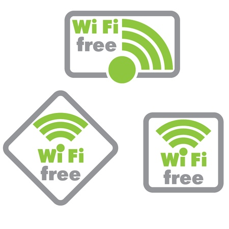 Free wifi and Internet sign with square border  Illustration