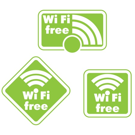 boardcast: Free wifi and Internet sign with square border  Illustration