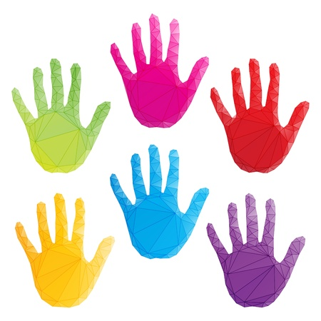 colorful hand prints, poligonal art