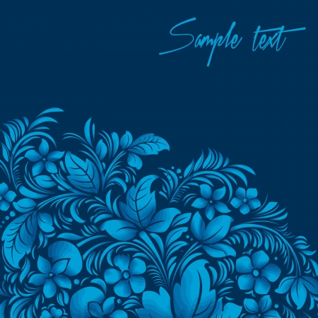 blue flower ornament, gzhel russian style Vector