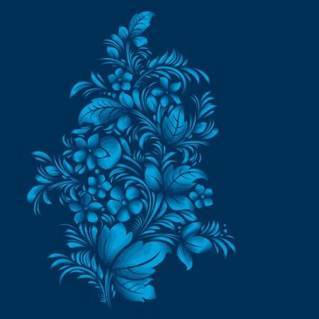 blue flower ornament, gzhel russian style Vector