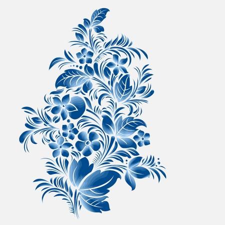 blauwe bloem ornament, Gzhel Russische stijl Stock Illustratie