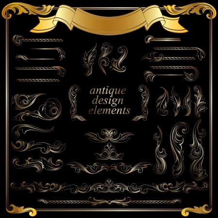 gold calligraphic design elements, page decoration set Vector