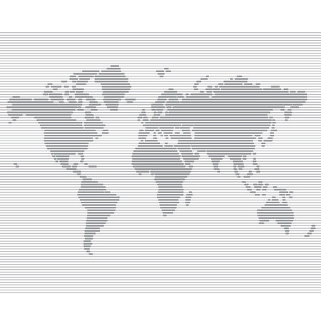 striped line world map  template illustration