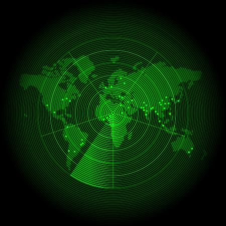 sonar: carte du monde vert avec un �cran radar Illustration