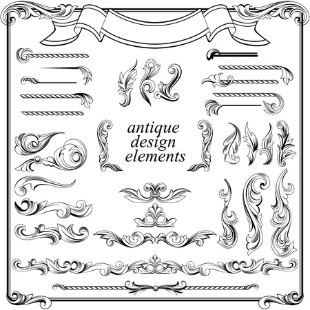 calligraphic design elements, page decoration set Vector