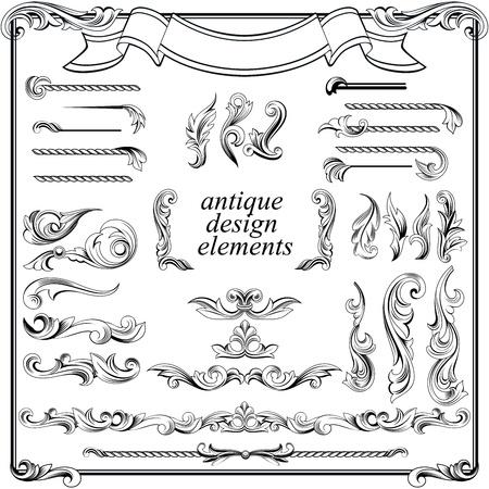 kalligrafische ontwerpelementen, pagina decoratie set