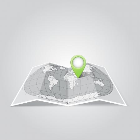 Wereldkaart met spelden Wijzer Icons Stock Illustratie