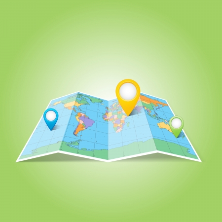 World map with Map Pins Pointer Icons  Иллюстрация