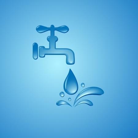 environnement entreprise: �conomiser l'eau signe symbole vecteur fond