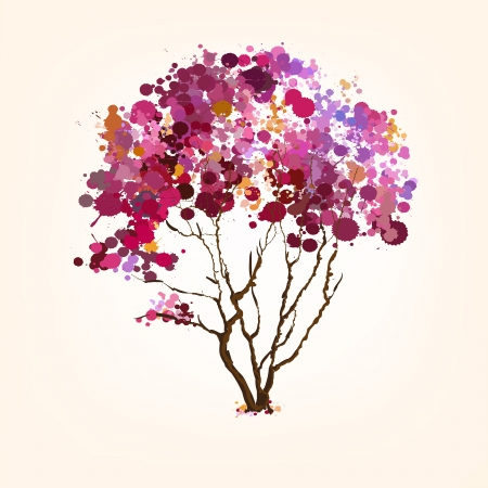 Spring vector tree of blots background