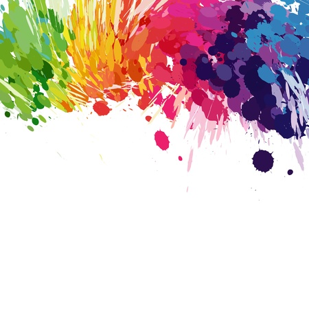 paint drips: Abstract background of colored splashes blots Illustration