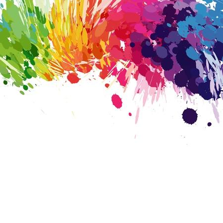 splash paint: R�sum� de fond de taches d'�claboussures color�es Illustration