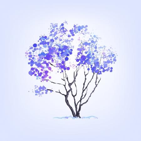 beautifu: Winter vector tree of blots background