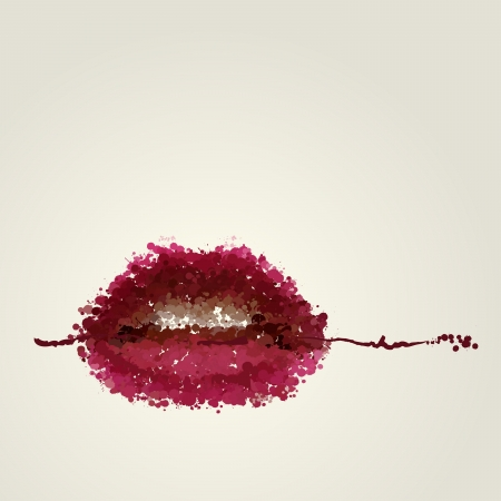 Juicy female lips of blots vector Stock Vector - 18956620