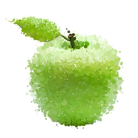 Green apple with leaf of blots vector isolated on white Illustration