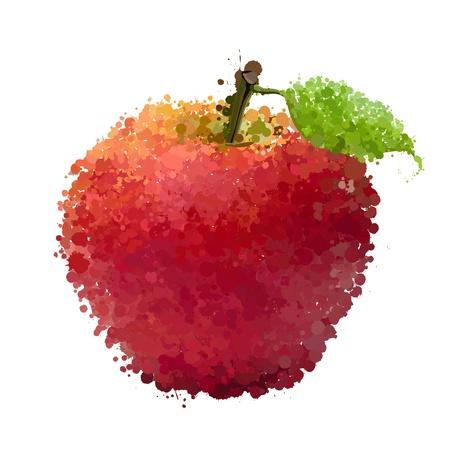 Rode appel met blad van vlekken vector geïsoleerd op wit