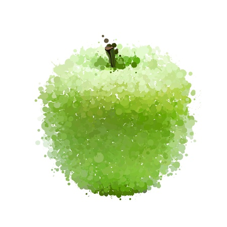 Green apple  of blots vector isolated on white