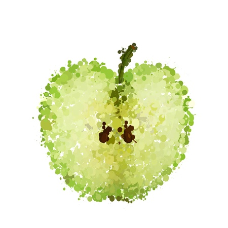 apple slice: half green apple of blots vector isolated