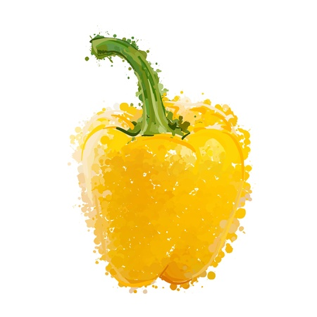 bell pepper: Yellow sweet pepper of blots vector Illustration