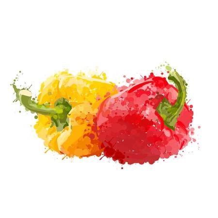 aubergine: rote und gelbe Paprika Vektor blots