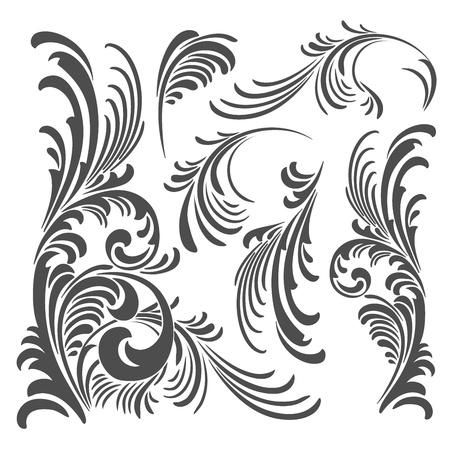 black and white plant: Vector floral ornament elements pack