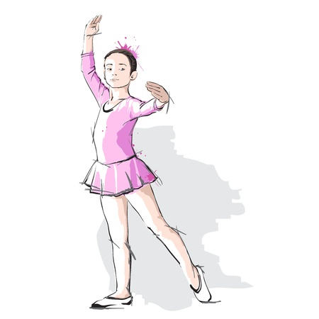 ballet child: Ballerina little girl in a pink dress and pointe Illustration