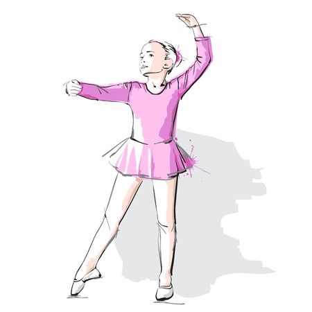 little girl dress: Ballerina little girl in a pink dress and pointe Stock Photo