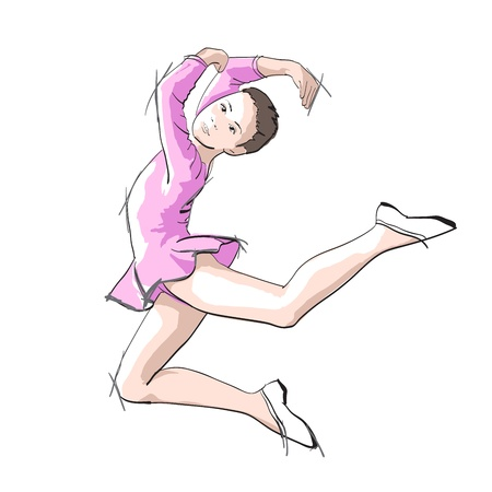 Ballerina little girl in a pink dress and pointe Illustration