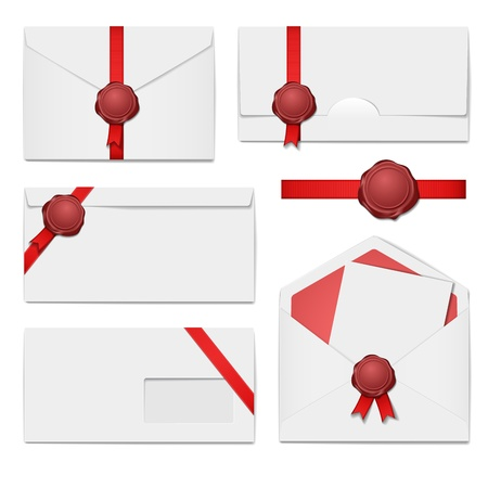 red envelope: envelopes with a wax seal set Illustration