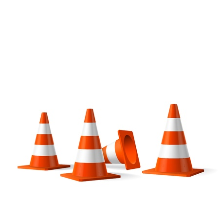 traffic building: Traffic cones vector isolated object