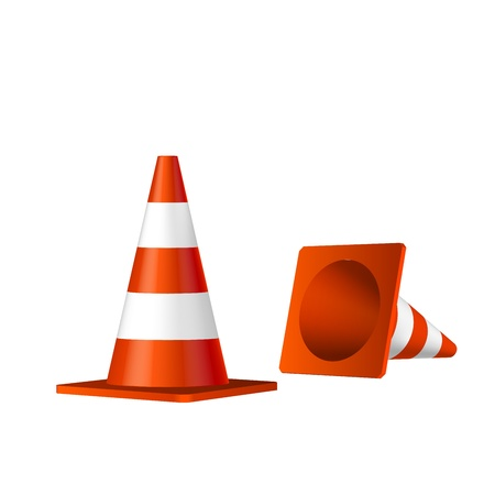 under construction road sign: Traffic cones vector isolated object