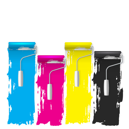 printing house: cmyk concept of a paint roller vector background Illustration