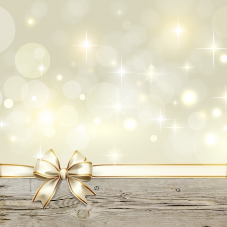 gold ribbon: Golden ribbon bow with bokeh Christmas decoration Illustration