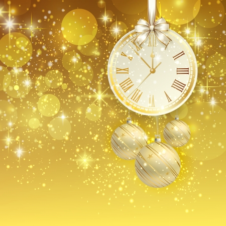 midnight hour: New year vector background with golden clock