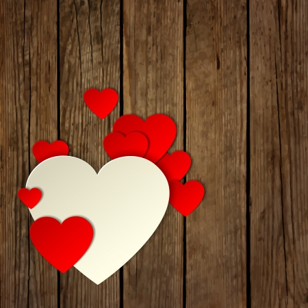 Paper heart on the wooden background Vector