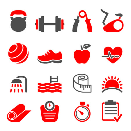 fitness club icons set vector Vector