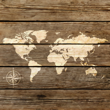 world map on a wooden board vector Vector