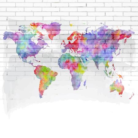 aquarel wereldkaart op een bakstenen muur