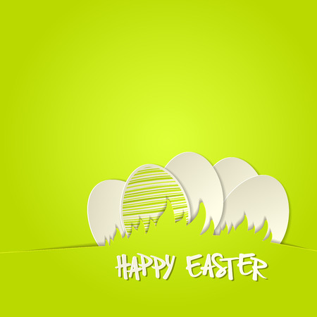 Easter bunny in grass greeting card template Vector