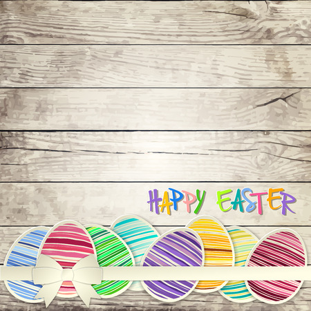 painted wood: Easter eggs on wooden background  vector file