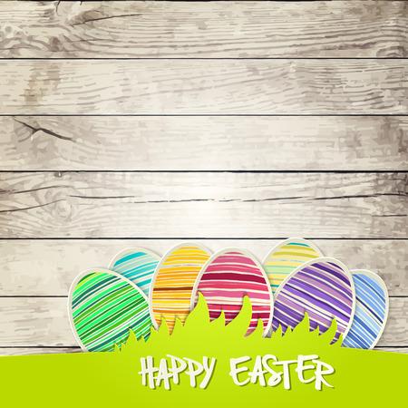 ester: Easter eggs on wooden background  vector file