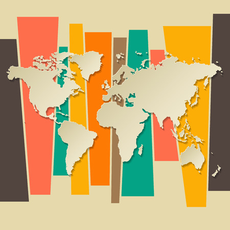 vector World map paper 3D retro background Vector