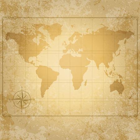 bussola: vintage mappa del mondo con bussola di file vettoriali