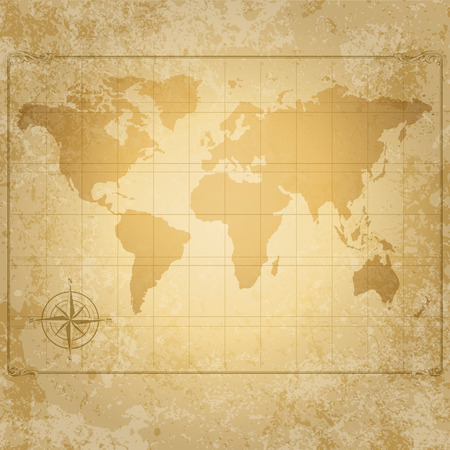 vintage world map: vintage world map with compass vector file Illustration