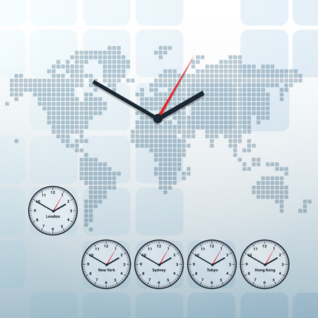world map and world time vector background Vector